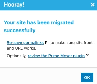 WP Your site has been migrated successfully